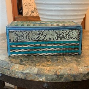 Other - 2/$15 Tissue Box Holder Elephant Print Home Decor